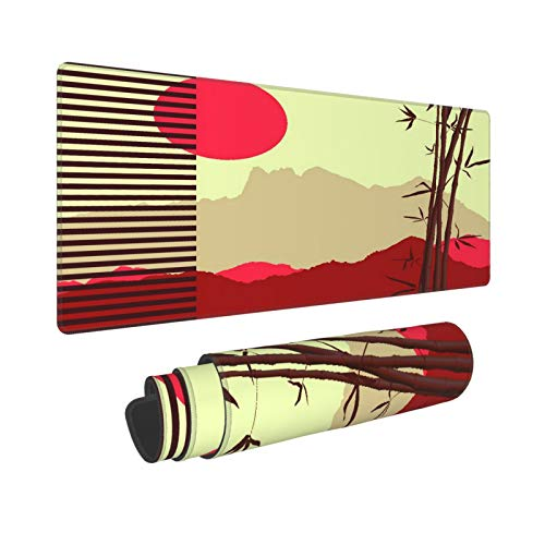 KENADVI Large Gaming Mouse Pad,Japanese Theme with Bamboo and Mountains,Non-Slip Rubber Mouse Pads Mousepad for Gaming Computer Office Desk,80×30×0.3cm