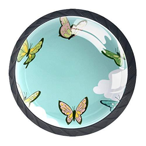 [4 unidades] Tiradores de cristal para cajones y cajones con tornillos para el hogar, la oficina, el armario, armario, la mariposa verde
