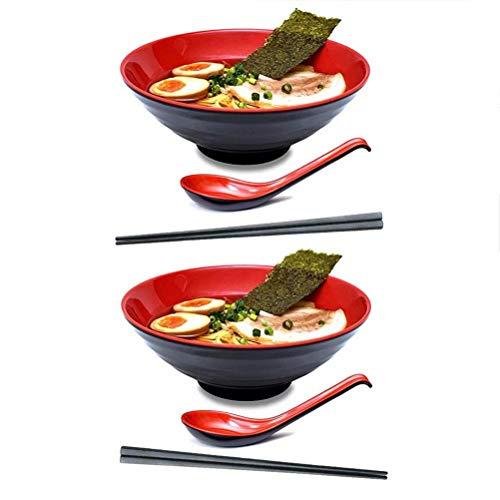 KLDX 2 Juegos (6 Piezas) Juegos de Cuchara y tazón Rojo Negro - Vajilla de melamina, con Cuchara a Juego para Fideos asiáticos Udon Soba Pho para Fideos asiáticos Udon Soba Pho