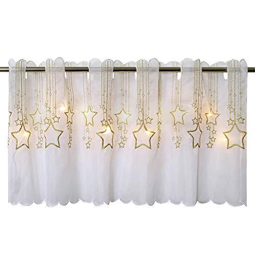 Delindo Lifestyle® LED Scheibengardine STERNENREGEN für die Küche, beleuchtete Bistrogardine, 45x115 cm, Moderne und transparente Gardine zu Weihnachten