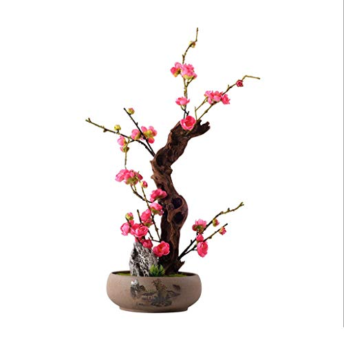 NYKK Getrocknete Blumen Chinesisch-Stil Wohnzimmer Hotel Villa Massivholz-Simulation Blumen Bonsai, Künstliche Plum Blossom Blume, künstliche Topf künstliche Anlage Wohnaccessoires künstliche Blumen