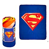 JPI Fleece Throw Blanket - Superman Shield - Lightweight Faux Fur Fleece Blanket Large 50'x 60' - for Beds, Sofa, Couch, Picnic, Travel, Camping