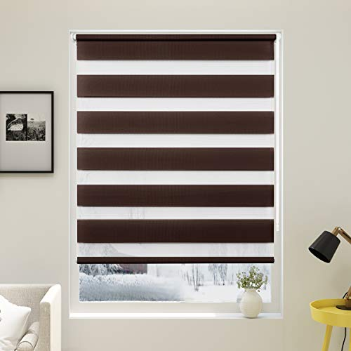 Grandekor Doppelrollo Duo Rollo Klemmfix ohne Bohren lichtdurchlässig und verdunkelnd Fensterollos Sonnenschutz für Fenster und Tür - Kaffee - 50x150cm (BxH) / Stoffbreite 46cm