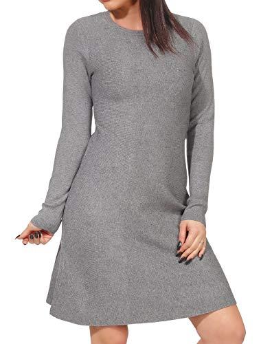 VERO MODA Damen Langarm Winter Strickkleid Nancy 10206027 medium Grey Melange S