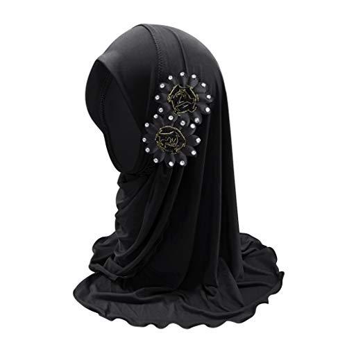 IPENNY Kinder Kopftuch Turban Hut Hals Muslim Kopfbedeckung Atmungsaktiv Sonnenschutz Chemo Kappe Haar Islamischen Abaya Dubai Mädchen Elegante Gesichtsschleier Hidschab...