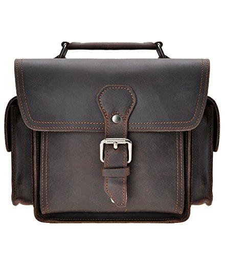 ZLYC Vintage DSLR SLR Tasche Abnehmbare Stoßfest Polster Echtleder Kameratasche Messenger Bag(Dunkelrot),M
