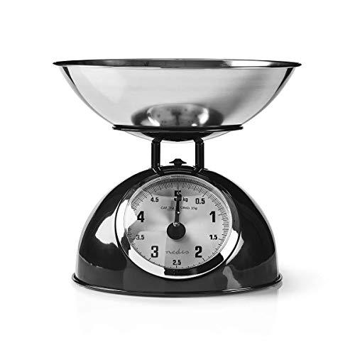 Nedis - Küchenwaage - Retro - Abnehmbare Edelstahlschüssel - Analog - Metall - Schwarz