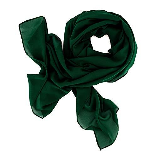 DOLCE ABBRACCIO by RiemTEX ® Schal Damen SWEET LOVE Stola Chiffon Tuch in 30 Unifarben Schals und Tücher Halstücher XXL Chiffontücher in Smaragd Grün Halstuch für jede Jahreszeit (Smaragd)