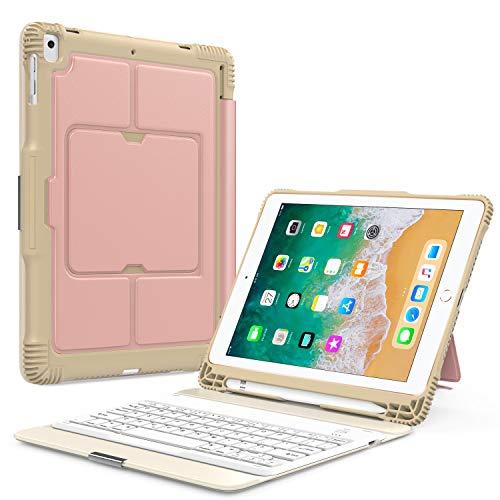 MoKo Keyboard Case Fit Apple iPad 9.7 Inch 2018/2017(iPad5/iPad6)/ iPad Pro 9.7/ iPad Air/iPad Air 2, Detachable Wireless Keyboard Stand Cover with Apple Pencil Holder, Auto Wake & Sleep - Rose Gold