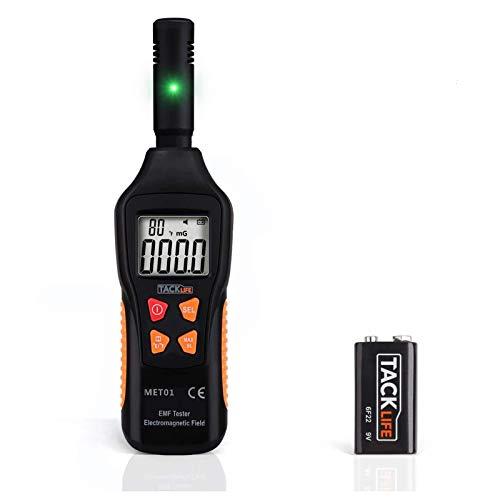 EMF Meter, TACKLIFE Strahlungsdetektor für Messung der elektrischen Feldstärke/elektromagnetischen Feldstärke/Temperatur, mit LCD und Taschenlampe, geeignet für den Heimgebrauch - MET01