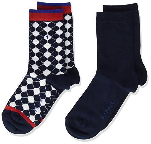 ESPRIT Kinder Socken Football 2er Pack - Baumwollmischung, 2 Paar, Blau (Marine 6120), Größe: 27-30