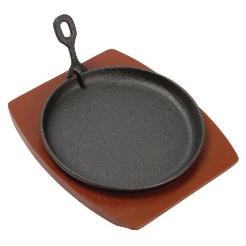Vogue Olympia - Fuente redonda de servir, de hierro fundido con soporte de madera, 22 cm