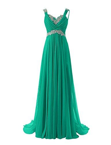 WedTrend Damen lang Spitzen Chiffon V-Ausschnitt Empire Taille Abendkleid Ballkleid mit Perlenstickerei WT10150-Green-10