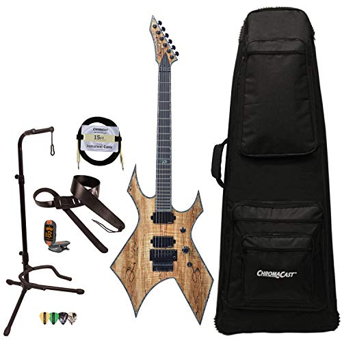 BC Rich Guitars Warlock Extreme Exotic Electric Guitar with Floyd Rose, Case, Strap, and Stand, Spalted Maple