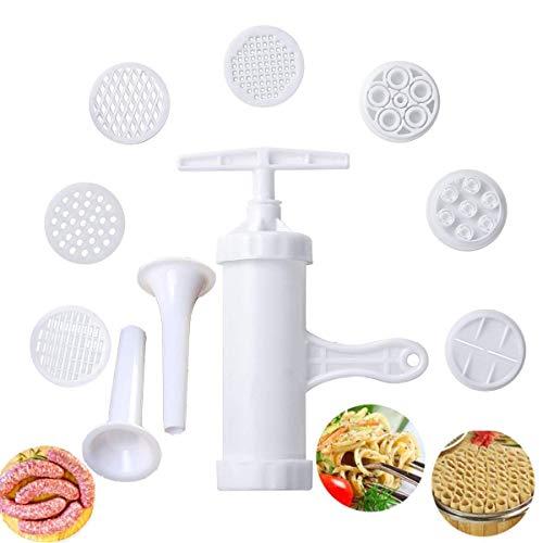 Pasta Maker Manual Noodle Maker Press Vegetables Juice with 9 Pressing Moulds for Making Spaghetti Fettuccine Noodles