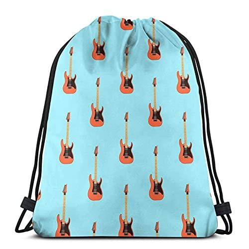 Kordelzug Rucksack E-Gitarre hellblau Herren Damen Sport Turnbeutel Rucksack Taschen für unterwegs Gym Yoga Strand Wandern