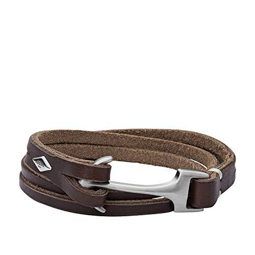 Fossil Men's Anchor Brown Leather Bangle Bracelet