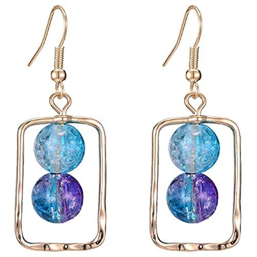 StrongAn Pendientes Bola de cristal de perlas Pendientes de plata Pendientes de plata de ley 925 chapados en platino Post para mujeres niñas - Azul + Oro 4.6x1.6cm