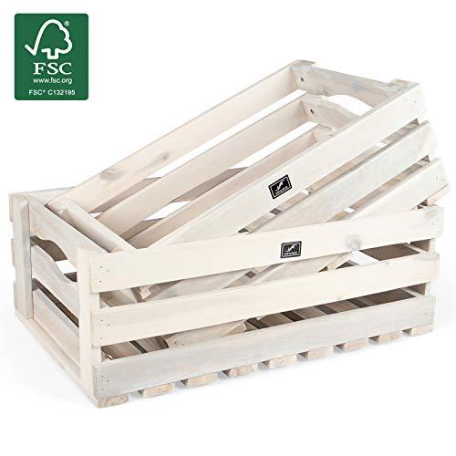 Vanage Holzkiste für Obst und Gemüse | 2er Set | Aufbewahrungskisten aus Akazienholz geölt | Kiste für den Garten, Apfelkiste oder Kartoffelkiste brauchbar in weiß