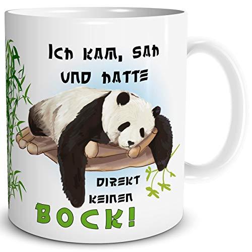 TRIOSK Panda Tasse mit Pandabär Spruch lustig Ich kam SAH und Hatte direkt keinen Bock Pandaliebe Geschenk für Arbeit Büro Frauen Freundin