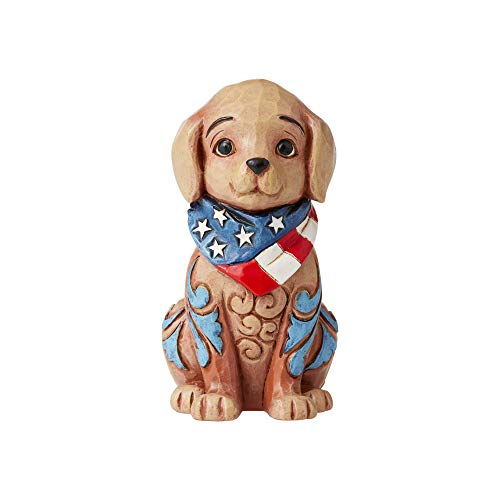 Enesco Jim Shore Heartwood Creek Mini Patriotic Puppy Figurine, 3.5', Multicolor