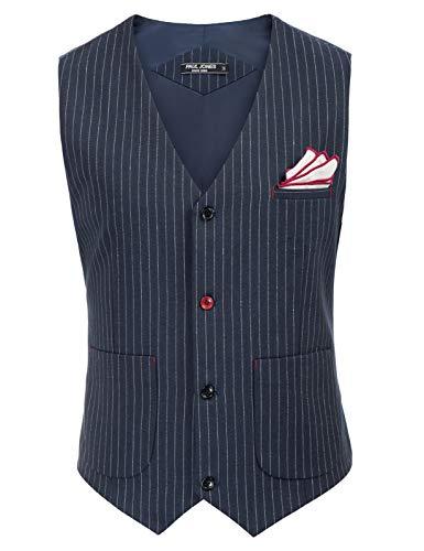 PaulJones Mann V-Ausschnitt Nadelstreifen Weste Mantel mit Taschen Einreihige Weste mit Einstecktuch für Party Abendmode Marineblau M