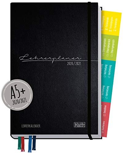 Lehrer-Planer 2020/2021 A5+ [Schwarz] Hardcover Lehrerkalender Schuljahresplaner mit Sprüchen, Stickern und vielen nützlichen Features - smart & gut gelaunt das Schuljahr planen!