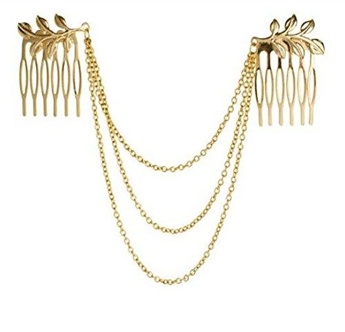 Cadena para el pelo para bodas, peinetas doradas