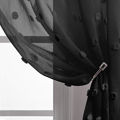 Black Sheer Curtains 84 Inches Long for Bedroom Decor Set 2 Panels Rod Pocket Semi Voile Modern Chic Fashionable Elegant Pom Pom Lace Trendy Canopy Bed Curtains for Girls Room Decoration Living Room