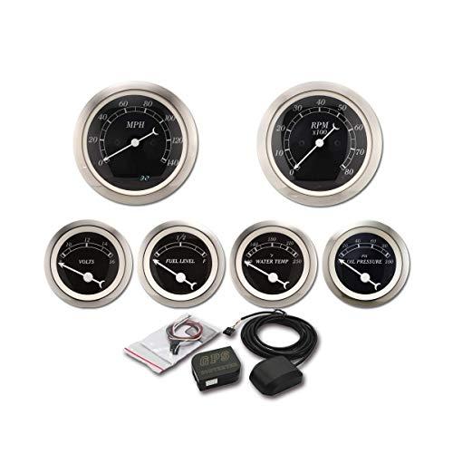 6 Gauge Set Classic GPS Electronic Speedometer Digital Odometer Black Dial