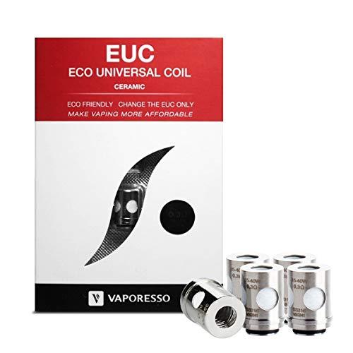 Bobinas de repuesto de cerámica EUC Vaporesso 0,3 ohm (paquete de 5), 35W - 40W Vaporesso VECO, VM, kit Tarot Nano/Mini adecuado, tanque Guardian, sin nicotina