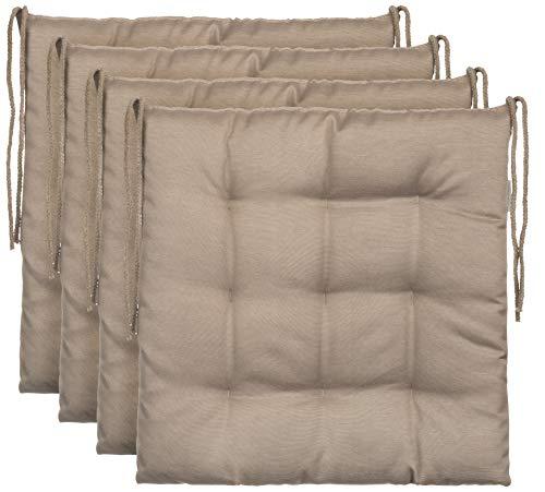 Brandsseller Sitzkissen Dekokissen Stuhlkissen Zierkissen Gartenkissen 9er Steppung - Größe: ca. 40 x 40 cm - 4er Vorteilspaket - Sand