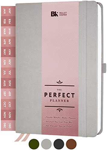The Perfect Planner by BK. Undated Planner for 2020-21 or Any Year! Weekly & Monthly Structures. Sticker Set Included. A5 (5.8 x 8.3) Gray Hardcover