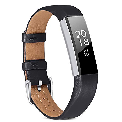 ESeekGo Band Compatible with Fitbit Alta/Alta HR/Fitbit Ace Band, Classic Retro Genuine Leather Strap with Metal Connector for Alta Fitness Tracker, Men and Women