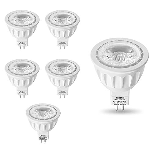 Wixann MR16 LED Bulb, 2700K Soft Warm White, 12-Volt, 5W-50W Equivalent, GU5.3 Bi-Pin Base, 36 Degree Spot Lighting for Indoor/Outdoor Landscape Track Bulbs-Not Dimmable (6 Pack)