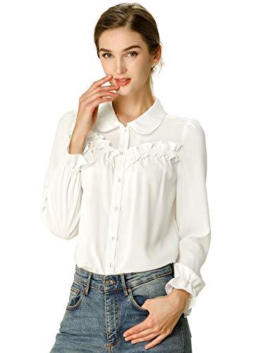 Allegra K Women's Ruffled Peter Pan Collar Shirt Work Office Long Sleeve Ruffle Button Down Shirts Top M White