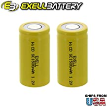 2x Exell SubC 1.2V 1500mAh NiCD Flat Top Rechargeable Batteries for high power static applications (Telecoms, UPS and Smart grid), electric mopeds, meters, radios, RC devices, electric tools