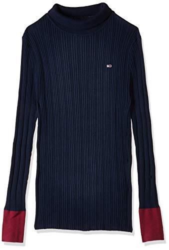 Tommy Jeans Damen TJW Fitted ROLL Neck Sweatshirt, Blau (Blue CBK), (Herstellergröße:S)