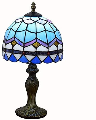 Lámpara del Banquero Vitral premium hecho a mano con base de resina Restaurante de estilo mediterráneo europeo Bar Café Lámpara de mesa pequeña Lámpara de cabecera con pantalla de vidrio