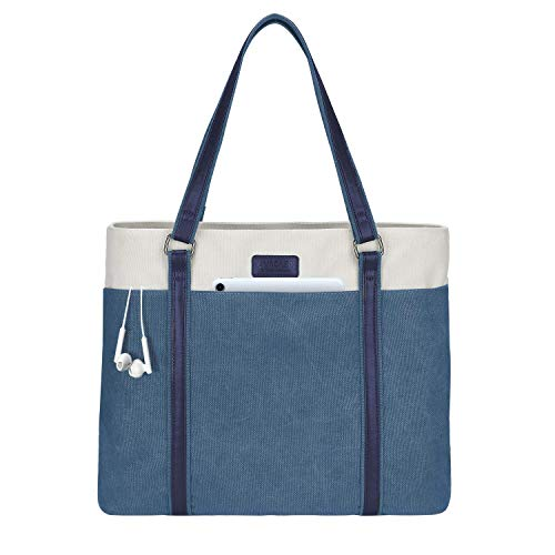 LIVACASA Laptoptasche Damen Business Tote Bag 15.6 Zoll Laptop Verschleißfest Handtasche Notebooktasche Leicht Umhängetasche Schopper Arbeit Aktentasche Schultertasche für Business Schule Blau