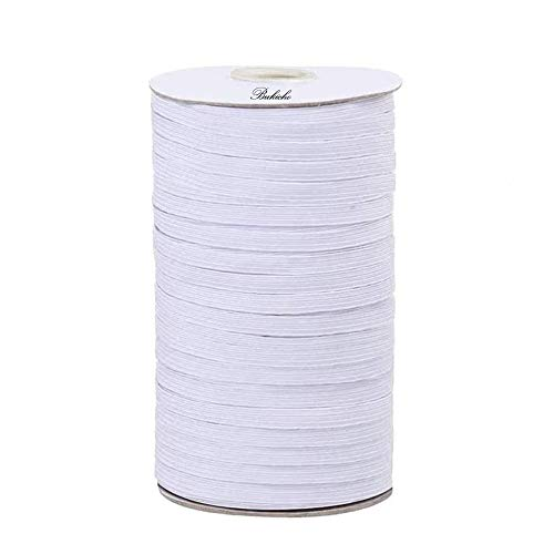 Geflochtenes Gummiband (weiß, 180 Yards Länge, 3 mm Breite), Basteln, flach, elastisches Seil, Bungee, schwere Dehnung, hohe Elastizität, gestrickte elastische Spulenband, Tagesdecke, Manschette