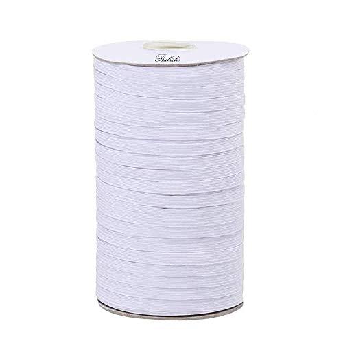 Braided Elastic Band, 100Yards Length 4mm Crafts Flat Elastic String Cord Rope Bungee Heavy Stretch High Elasticity Knit Elastic Spool Strap Roll for DIY Sewing Crafts Bedspread Cuff (White)