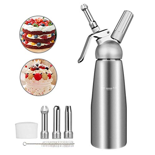 Wodesid 500mL Whipped Cream Dispenser Stainless Steel with 3 Nozzles, Whipped Cream Maker, Whip Cream Canister, Ice Cream Dispenser, Whipping Cream for Cake Decorating,Cheese,Pastry Cream,Shakes