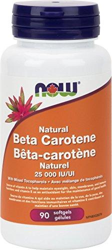 NOW Beta Carotene 25,000 Iu Natural D.Salina Softgels, 90 Count