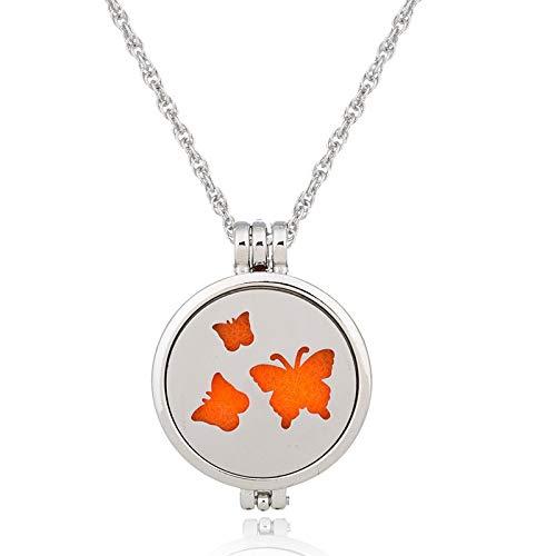 YQMR Colgante Collar para Mujer,Elegante Collar Difusor De Aceite Esencial Hueco Grabado Mariposa Animal Colgante Encanto Joyería Regalo para Mujeres Aniversario Parejas Cumpleaños