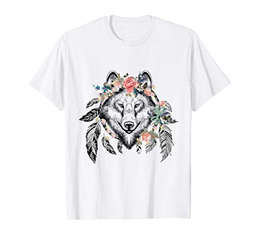 Ethnic Tribal Wolf Head Boho Feather Native American Hippie T-Shirt