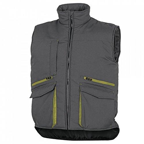 Delta Plus SIER2GVGT - Chaleco con varios bolsillos (poliéster y algodón, talla L), color gris y verde