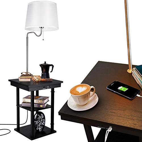 Albrillo Nightstand Floor lamp with Outlet and 2 USB Charging Ports, Mid Century Table with Shelve and Swing Arm for Bedroom, White
