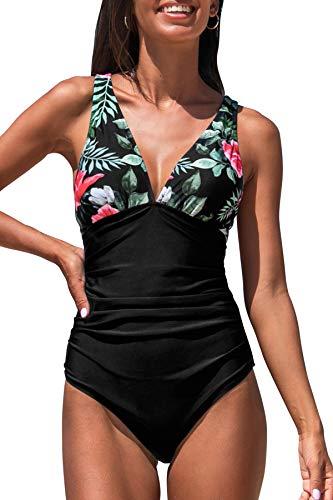 CUPSHE Damen Badeanzug V Ausschnitt Kreuz Rückseite Tropischer Print Bauchweg Einteilige Bademode Swimsuit Rote Blumen M