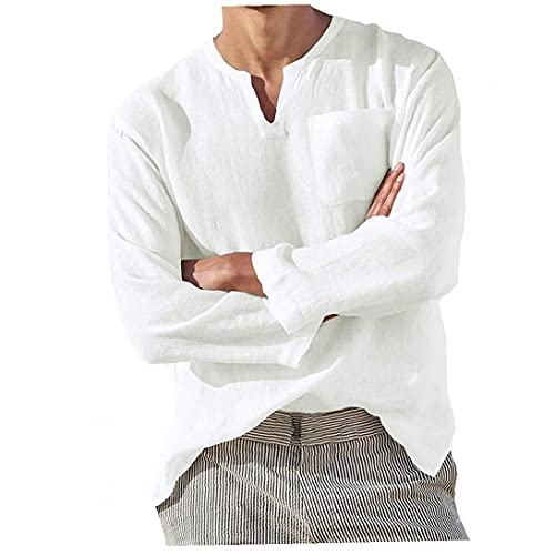 Mannen Linnen T-shirt Losse Lange Mouw Tees Zomer V-hals Casual Beachwear Wit M